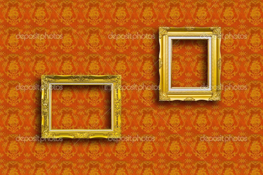 Frame of golden wood  on yellow wallpaper  Stock Photo #9260583
