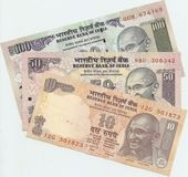 Indian banknotes - 10, 50 and 100 Indian rupees, the sample in 2010, the fr — Stock Photo