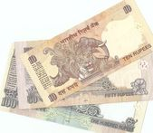 Indian banknotes - 10, 50 and 100 Indian rupees, the sample in 2010, the fl — Stock Photo