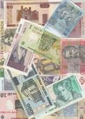 Background of the European banknotes of different countries. — Stock Photo