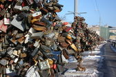 A tree with locks Suite about the Luzhkov bridge. Moscow, Russia. — Stock Photo