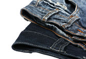 Blue denim jeans isolated on white — Stock Photo
