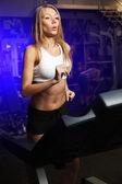 Running woman on toe cam — Stock Photo