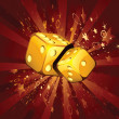 Two golden dice on shiny background — Stock Vector #10551716