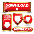 Shiny golden and red download now button collection. - Stock Vector