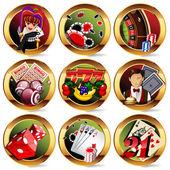 Eps8 vector casino or gambling icons set — Stock Vector