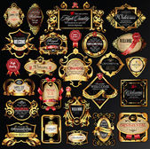 διάνυσμα σύνολο ετικετών με χρυσά στοιχεία. — Διανυσματικό Αρχείο