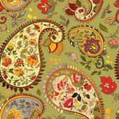 Beautiful green paisley seamless background. — 图库矢量图片