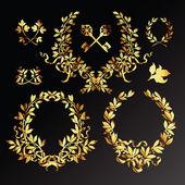 Set of golden laurel wreaths — Stock Vector