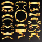 黄金のベクターのリボンまたはテキスト バナーの設定. — ストックベクタ