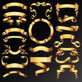 Metin için altın vektör şeritler veya afiş kümesi. — Stok Vektör
