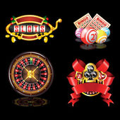 Set of casino`s items — Vector de stock