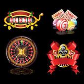 Set of casino`s items — Stock Vector