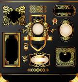 Golden labels on black background — Stock Vector