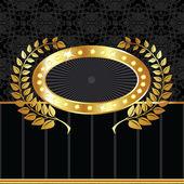 Golden label on textured black background — Stock Vector