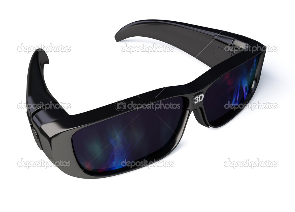 Black 3D Glasses on white. With clipping path  Stock Photo #9884027