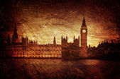 Gloomy textured image of Houses of Parliament in London — Stock Photo