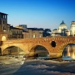 Ponte Pietra, Verona - Italy - Stock Photo