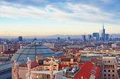 "Milan skyline from ""Duomo di Milano"". Italy. — Stock Photo"