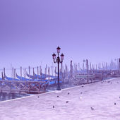 Piazza San Marco at a foggy morning. Venice - Italy — Stock Photo