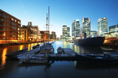 Canary Wharf at night. London - England — Stock Photo