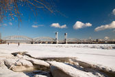 Railway Bridge over the River Neva. Ice jam. St. Petersburg — Stock Photo