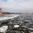 Ice drift on the river Neva. View of St. Peter and Paul Fortress - Stockfoto