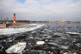 Ice drift on the river Neva. View of St. Peter and Paul Fortress — Stock Photo