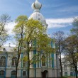 Church of the Smolny Cathedral. Spring. St. Petersburg, Russia - Stock fotografie