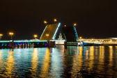 Palace Bridge on the River Neva night. Saint-Petersburg. Russia — Stock Photo