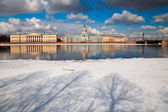 Spring in St. Petersburg. Drifting ice on the Neva. View of the — Stock Photo