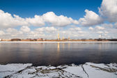 Drifting ice on the Neva. Peter and Paul Fortress. St. Petersbur — Stock Photo