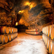 Wine barrels in a winery, France — Stock Photo #9525684
