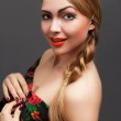Young woman in a headscarf in the Russian style. — Stock Photo #9889420