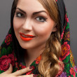 Young woman in a headscarf in the Russian style. — Stock Photo #9889481