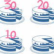 Stock Vector: Birthday cakes