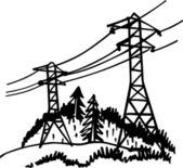 Linea elettrica ad alta tensione — Vettoriale Stock