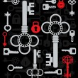 Silhouettes of keys — Stock Vector