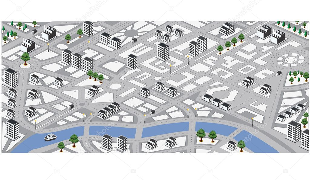 Isometric vector map of city  Stock Vector #8420844