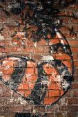 Brick wall graffiti — Stock Photo