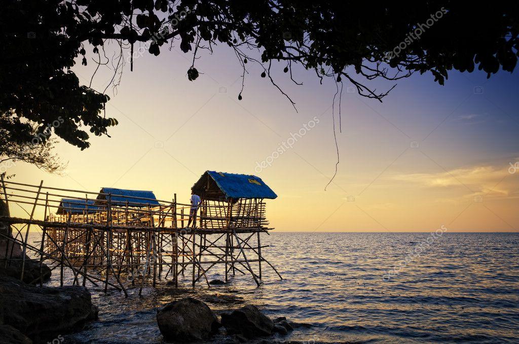Nipa Hut Cartoon Beach Nipa Huts on Bamboo