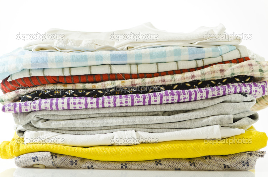 Stack of used underwear against white background  Stock Photo #10431277