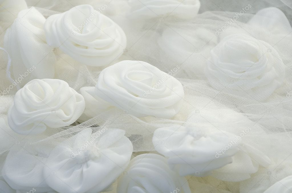 Close-up of beautiful and glowing white rose on wedding gown — Stock Photo #10432398