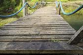 Wooden Suspension Bridge — Stock Photo
