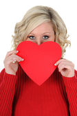 Young Woman Holding a Paper Heart 03 — Stock Photo