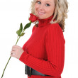 Young Woman Holding a Single Rose — Stock Photo