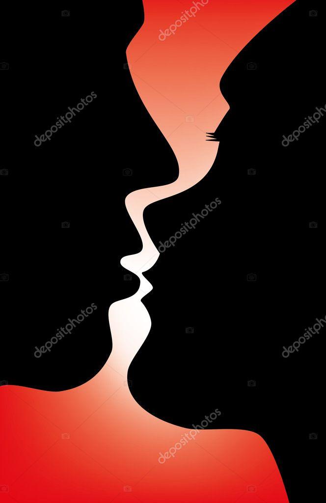 Поцелуй силуэт — Стоковое