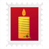 Post weihnachtsmarke mit kerze — Stockvektor