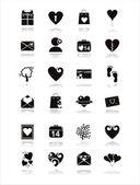 черный день святого валентина иконки — Cтоковый вектор