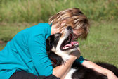 Border Collie and owner — Stock Photo